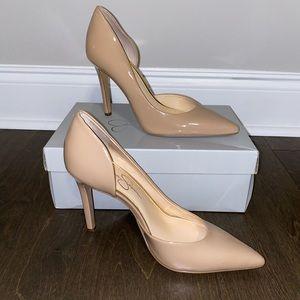 Jessica Simpson nude Claudette patent heels in 8M